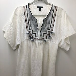 J.Crew Embroidered Textured Tassel Top Size S